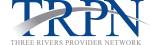 blue and silver three rivers provider network logo